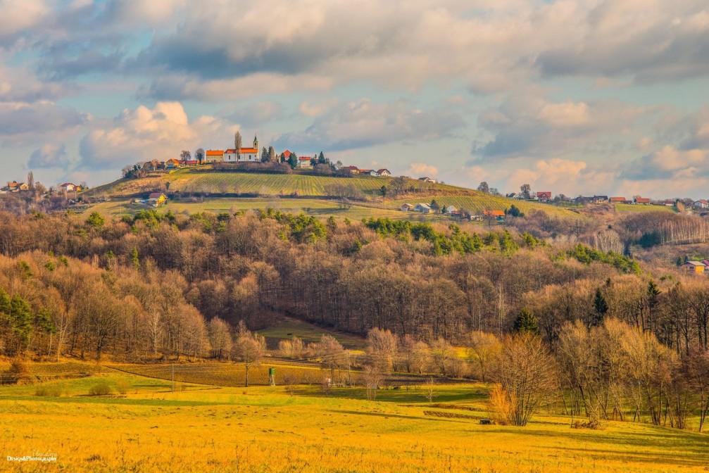 Village of Zgornja Korena located on the southwestern edge of the Slovene Hills southeast of Maribor, Slovenia