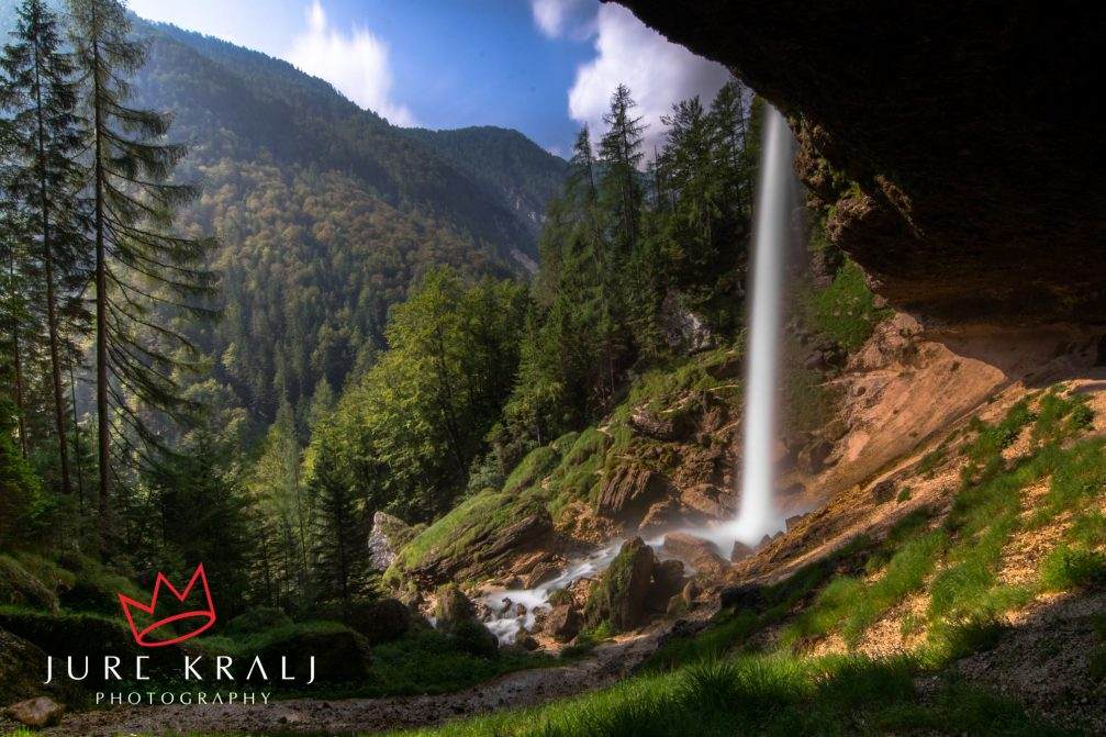 A behind view of the Pericnik waterfall in the Triglav National Park near Mojstrana, Slovenia