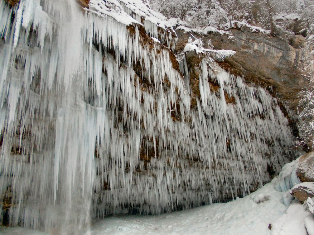 Waterfall Pericnik in winter with thousands of icicles