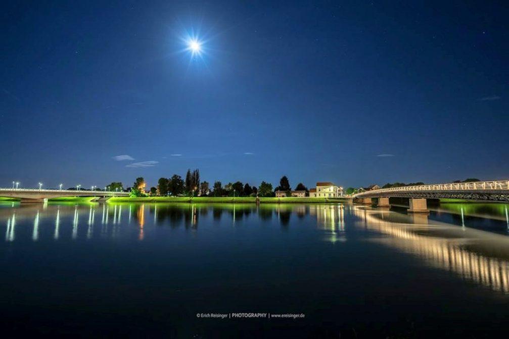 Ptuj bridges at night