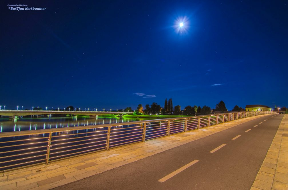 Two bridges over the Drava river in Ptuj, Slovenia