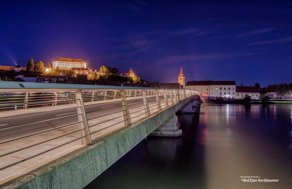 Ptuj Castle above the footbridge in Ptuj, Slovenia