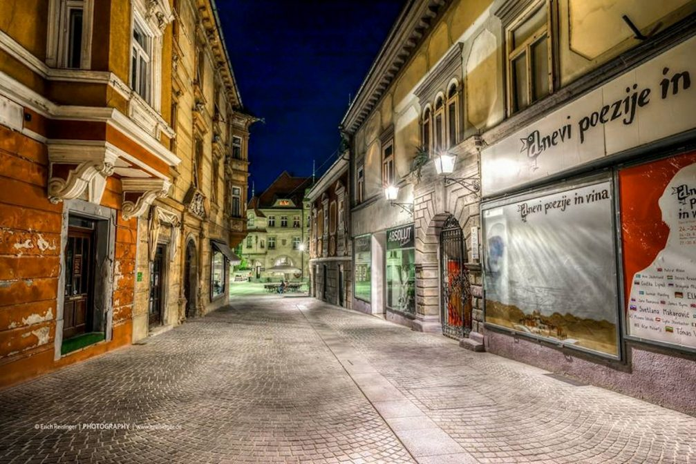 A street view in the old town centre of Ptuj, Slovenia at night