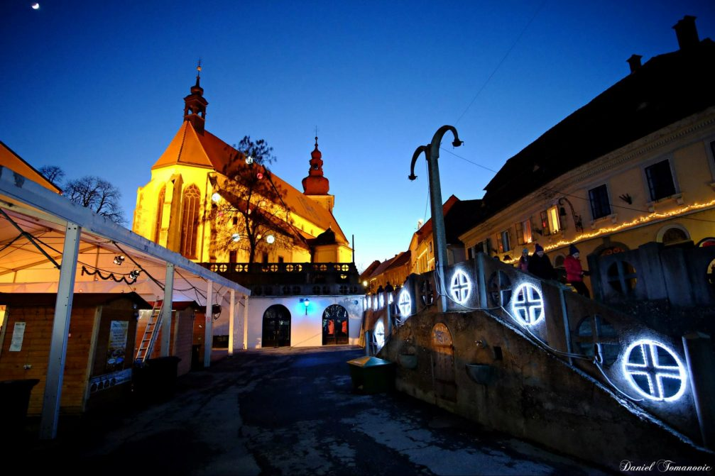 A street view in the festively decorated Ptuj, Slovenia