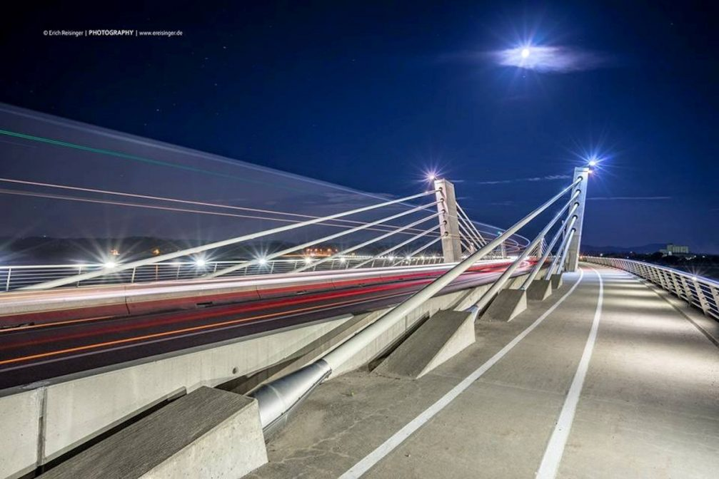 The Puhov Most bridge over the Drava river in Ptuj, Slovenia at night