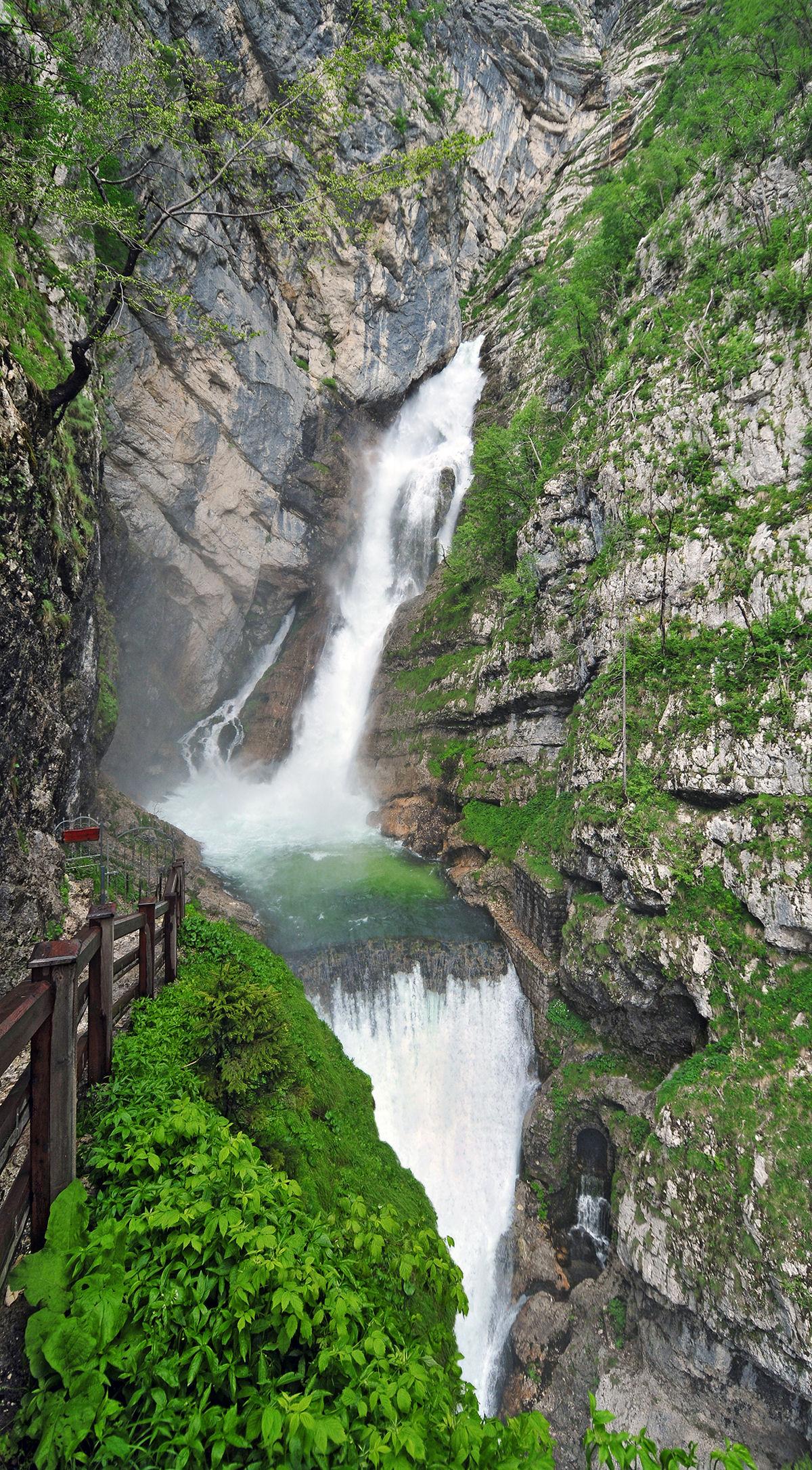 Waterfall Savica in the Bohinj valley in Slovenia