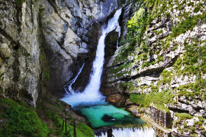 Waterfall Savica above Lake Bohinj, Slovenia