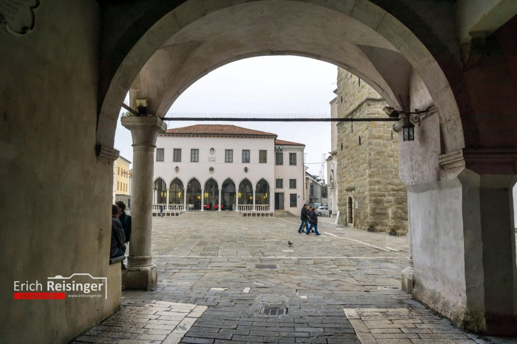 View of the Tito Square in Koper, Slovenia with the arcaded Venetian Gothic Loggia building