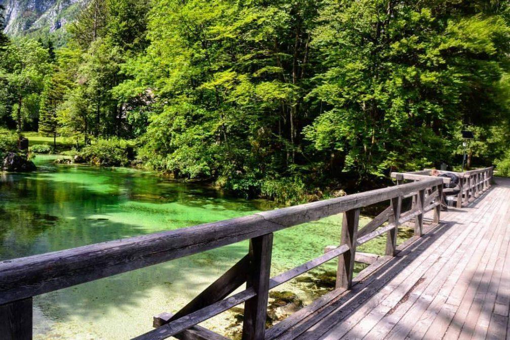 The wooden bridge over the Savica stream in Ukanc at the far end of Lake Bohinj
