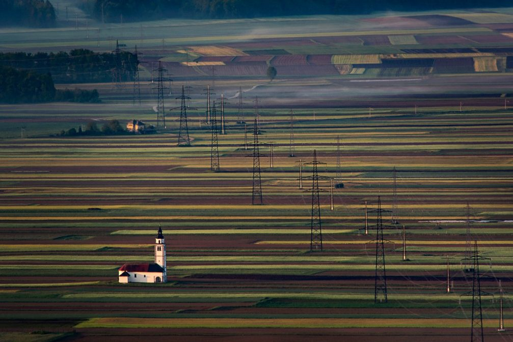 The Church of St. Ursula on the fields of Sorsko Polje in Slovenia