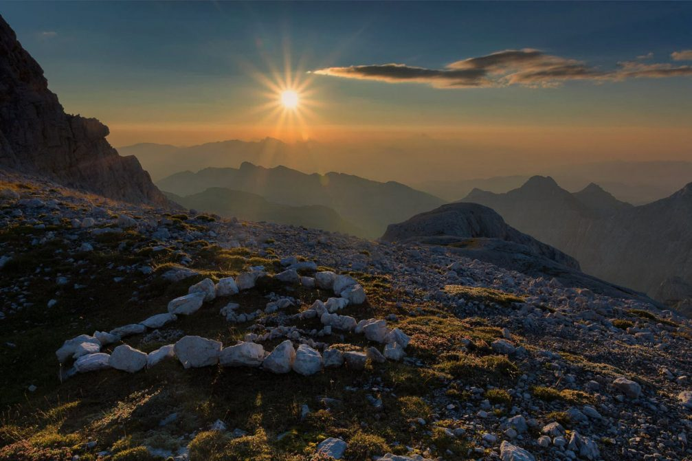 A beautiful sunrise above the Julian Alps in Slovenia