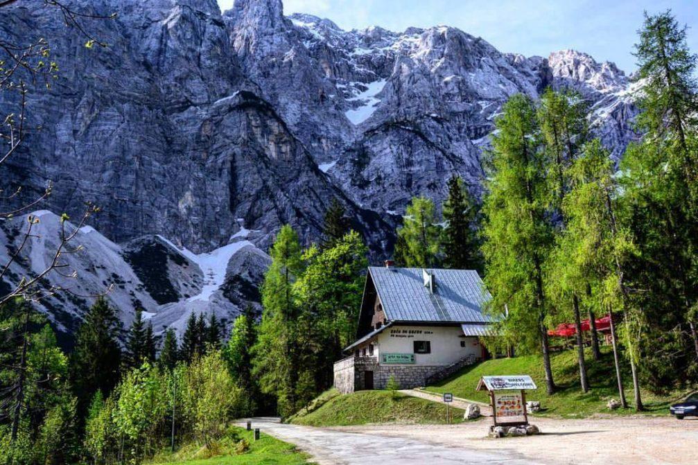 The Koca Na Gozdu mountain hut on the Vrsic mountain pass road in the Julian Alps