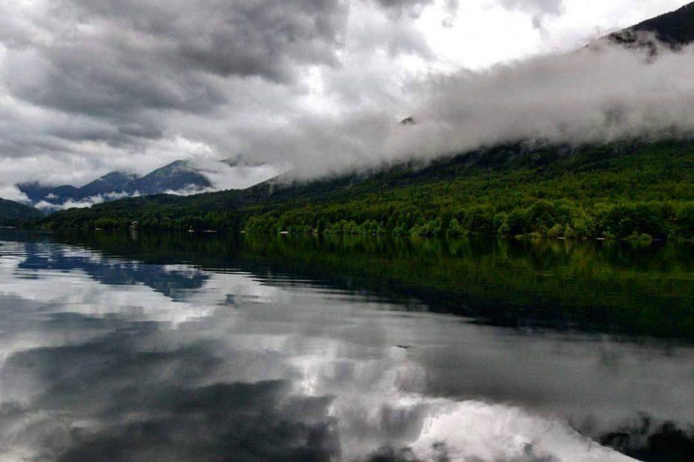 Reflections at Lake Bohinj on a moody day.