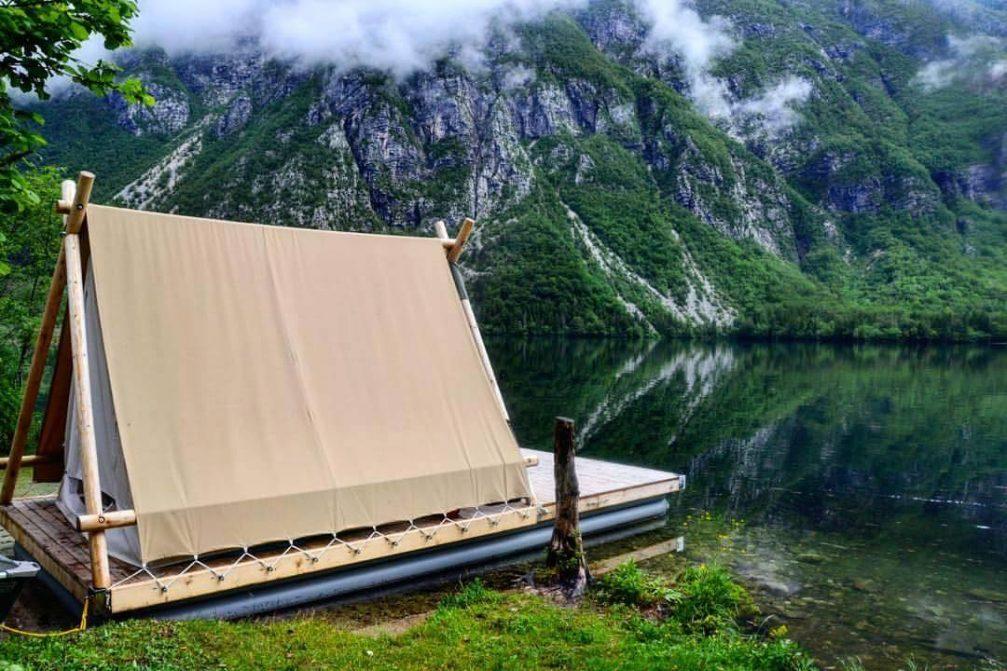 Camping tent next to Lake Bohinj
