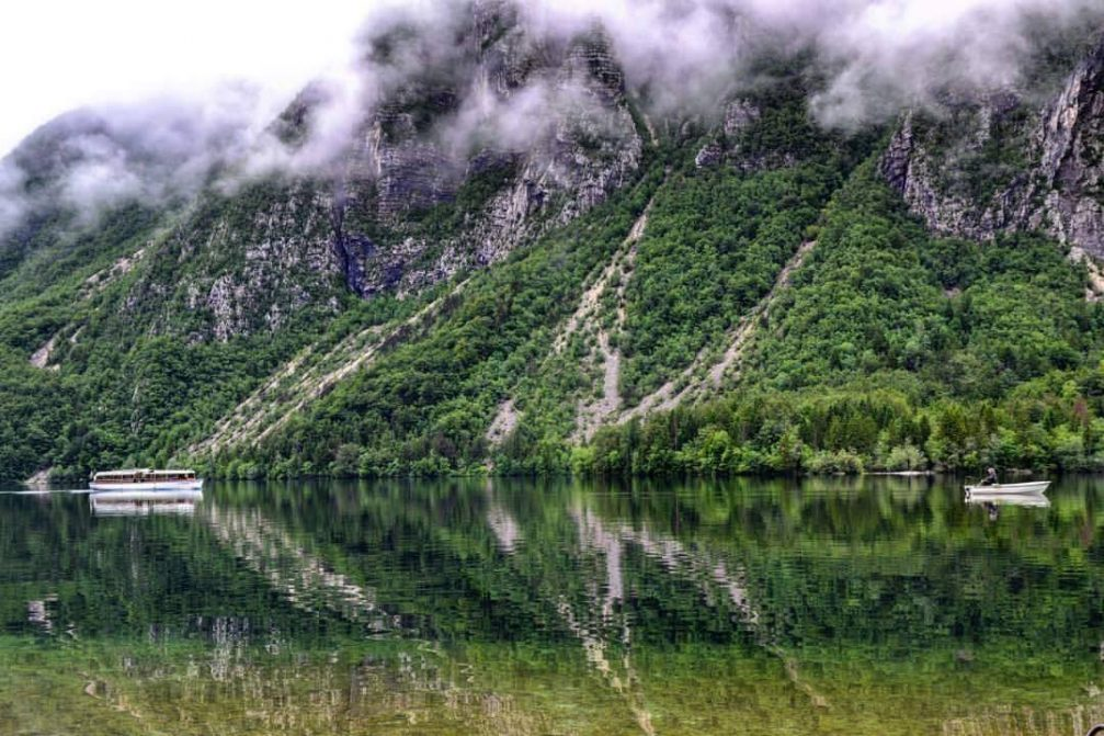 The electric tourist boat on the Eco friendly Lake Bohinj in the Triglav National Park