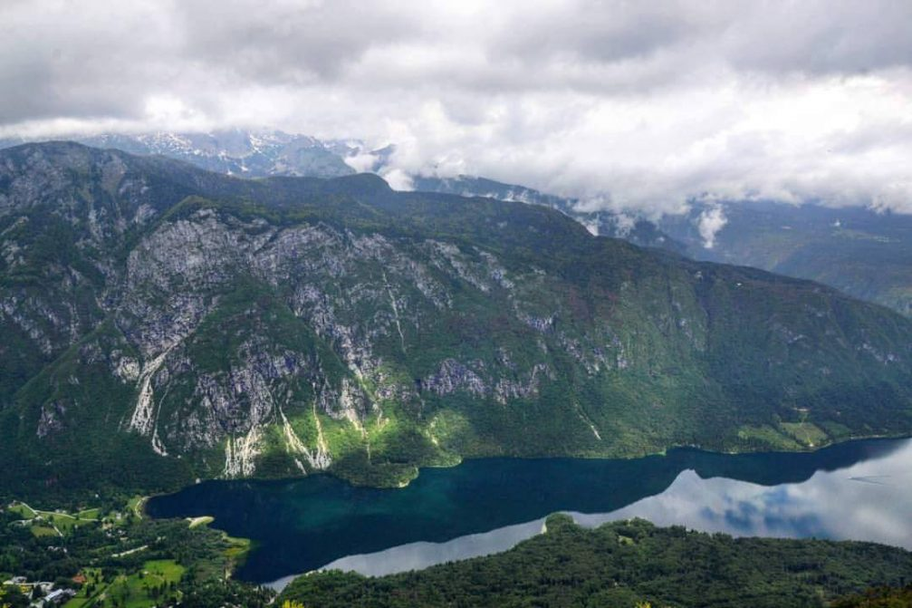 View of Lake Bohinj in the Triglav National Park from the Vogel mountain