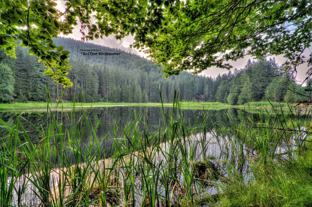 The scenic small Jezerc reservoir in the Pohorje Mountains in Slovenia