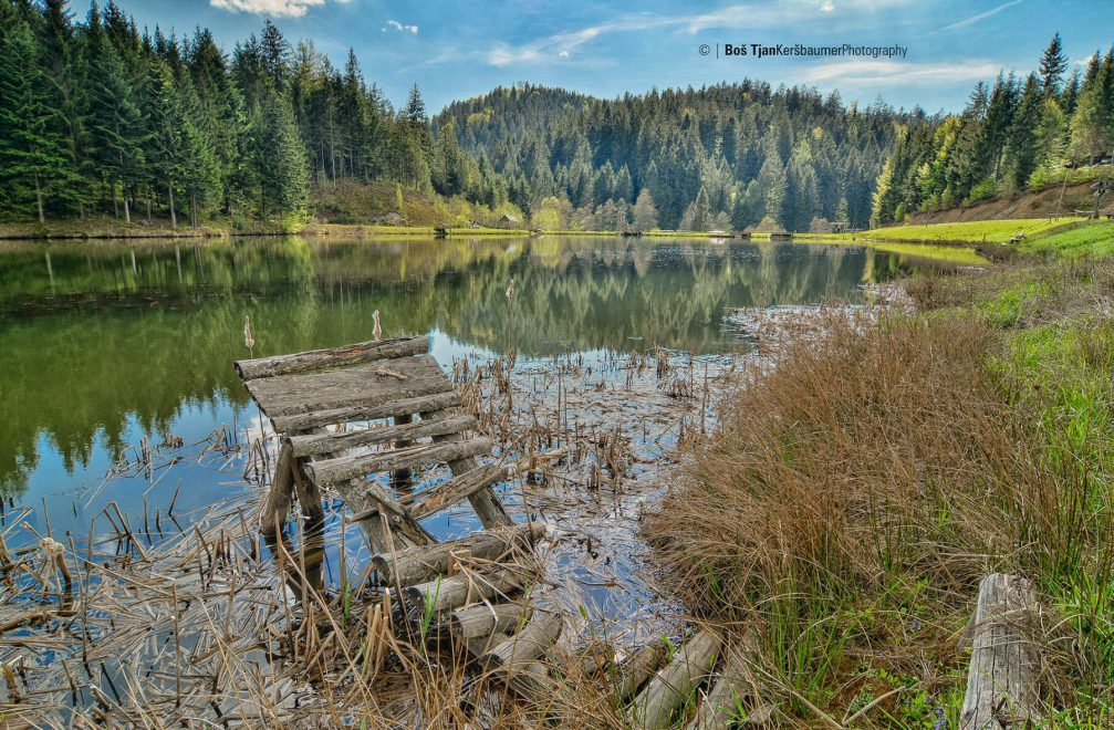 The beautiful Odomovo Jezero lake near Kapla na Kozjaku on Slovenia's northern border with Austria