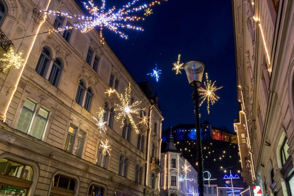The festively decorated street in Ljubljana's Old Town
