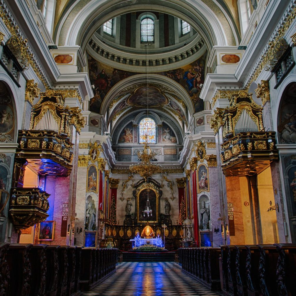 The interior of the Cathedral of St. Nicholas in Slovenia's capital Ljubljana