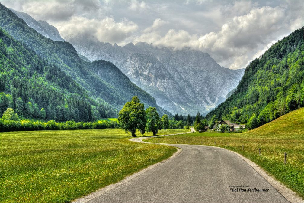 The Logarska Dolina valley surrounded by the Kamnik-Savinja Alps, Slovenia