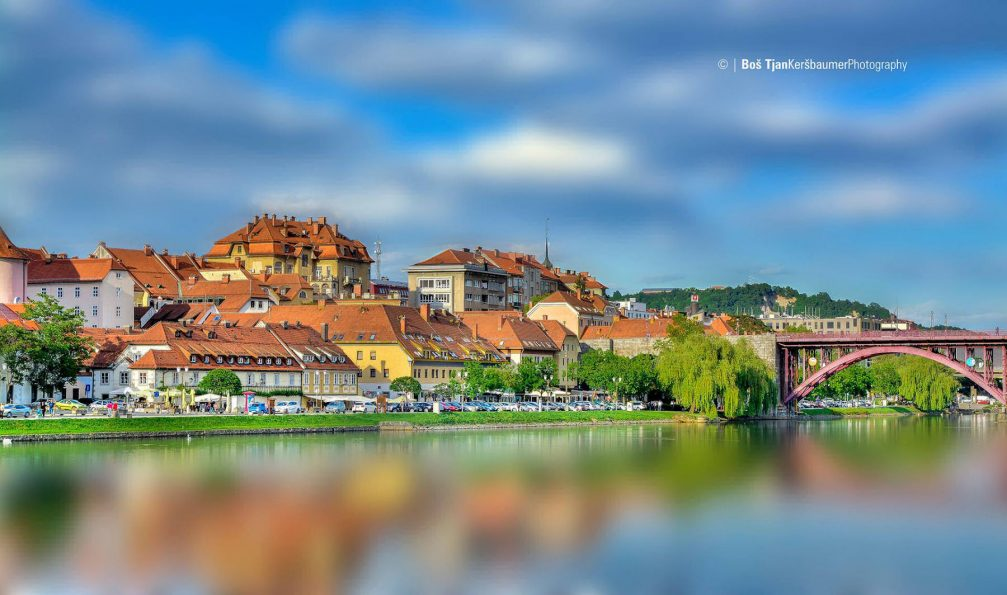 Maribor's old town district of Lent with historic buildings and plenty of vegetation