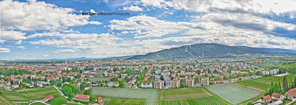 Beautiful panorama of Maribor, Slovenia, captured from the Kalvarija hill
