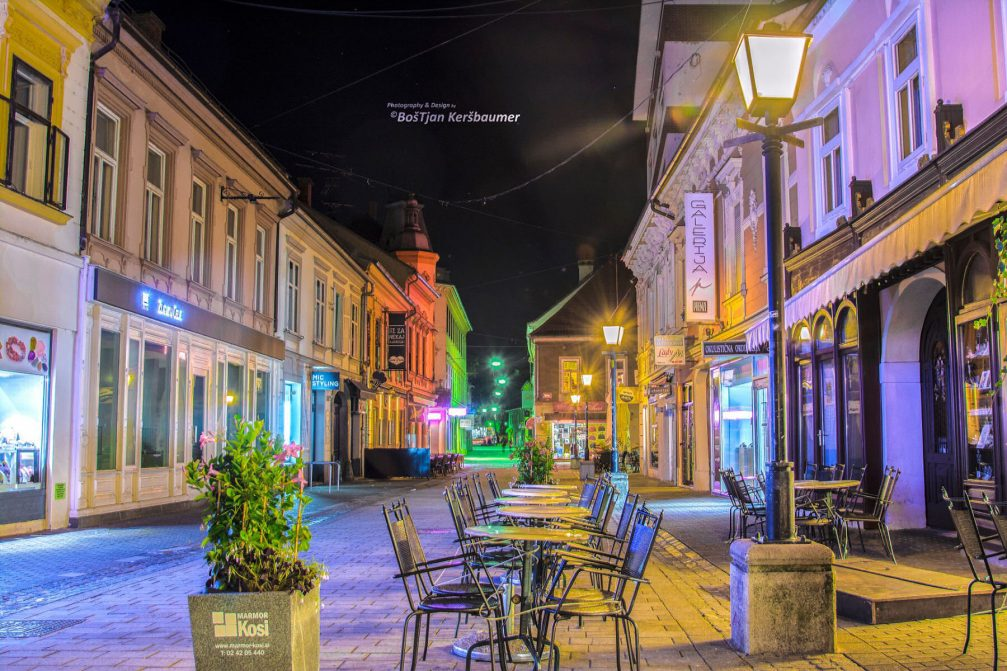 A street view in the old part of Maribor, Slovenia, at night