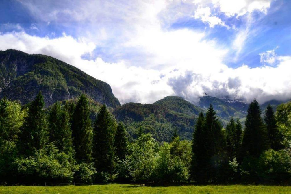 The mountains above Ukanc in Bohinj in the Triglav National Park