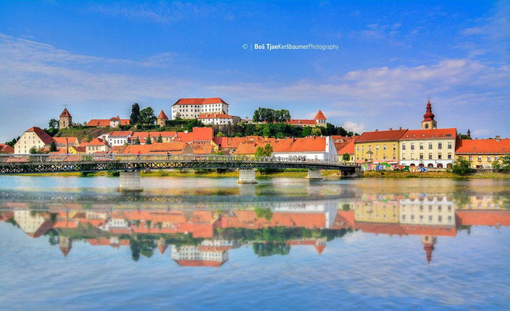 A beautiful view of the town of Ptuj, Slovenia, which is situated along the Drava river