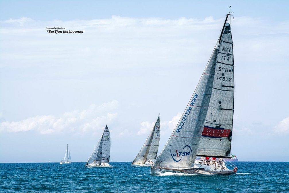 Four sailing boats in the Adriatic Sea near Izola, Slovenia