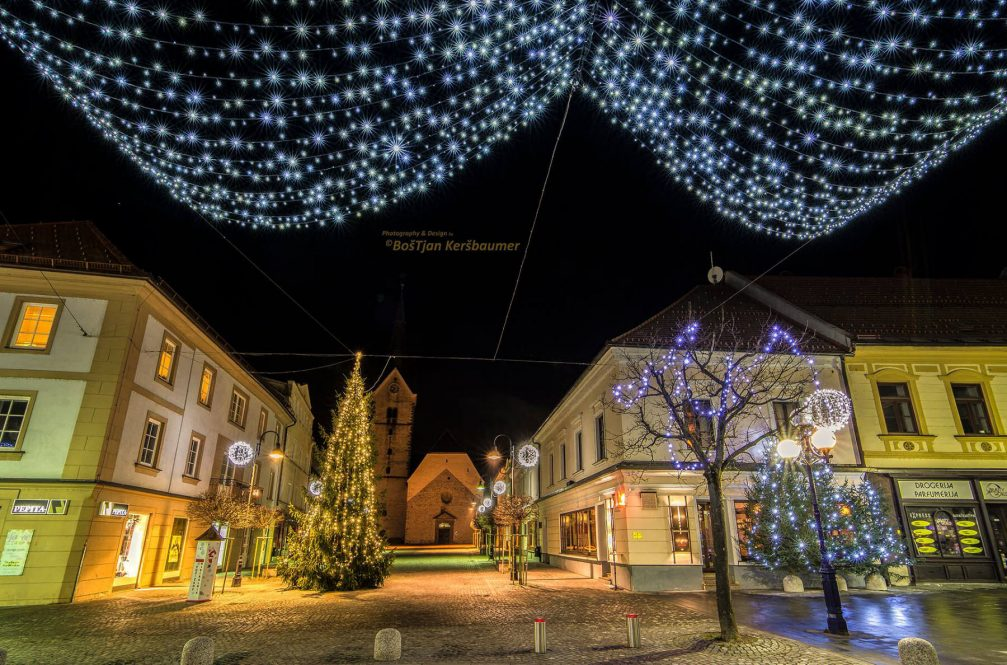 Slovenj Gradec city centre beautifully decorated with Christmas lights during the festive season