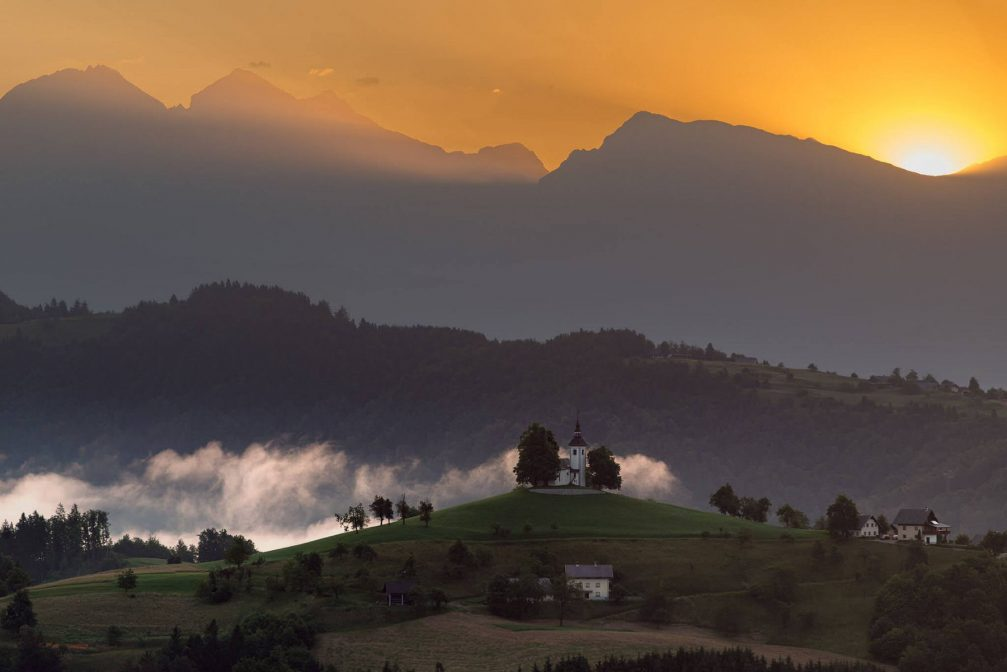 The Church of St. Thomas above Sveti Tomaz, Slovenia, at sunrise