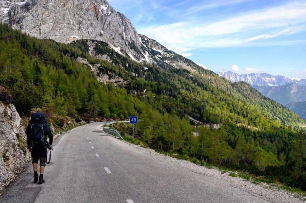 The Vrsic mountain pass road in the Triglav National Park, Slovenia