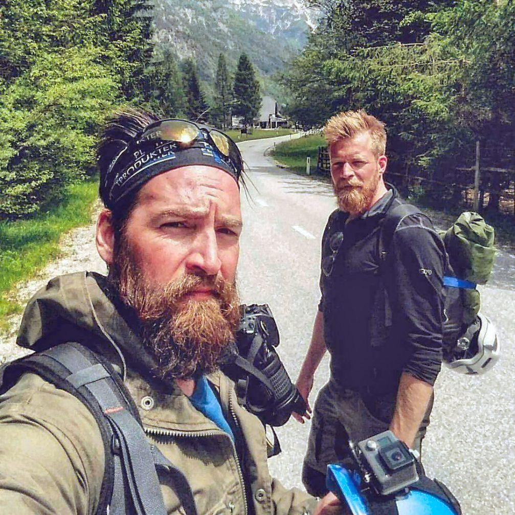 Swedish nature photographer Walle Grevik and his hiking partner Fredrik Vestlund during their hiking adventure in Slovenia