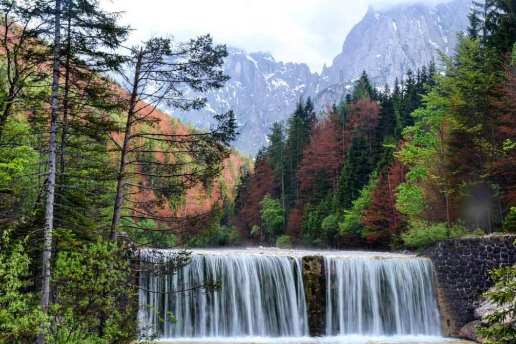 Waterfall on River Velika Pisnica in the Krnica valley in the Triglav National Park, Slovenia