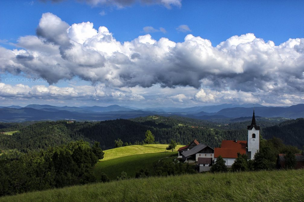 The Church of St. Catherine in Medvedje Brdo in the hills of western Slovenia