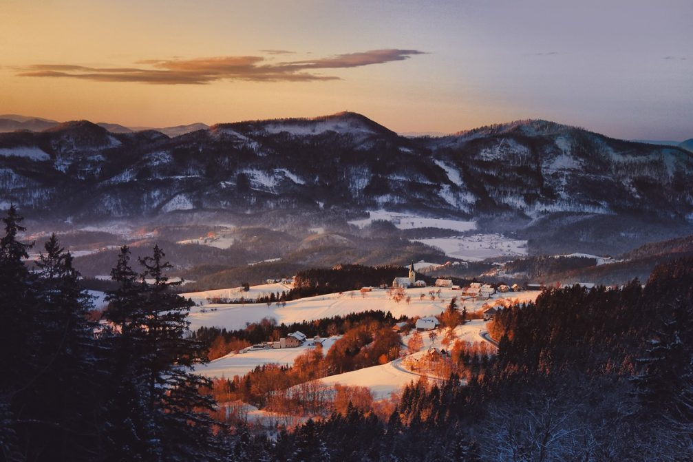 An elevated view of the Gorenje Pri Zrecah village located in the Pohorje Mountains in Slovenia