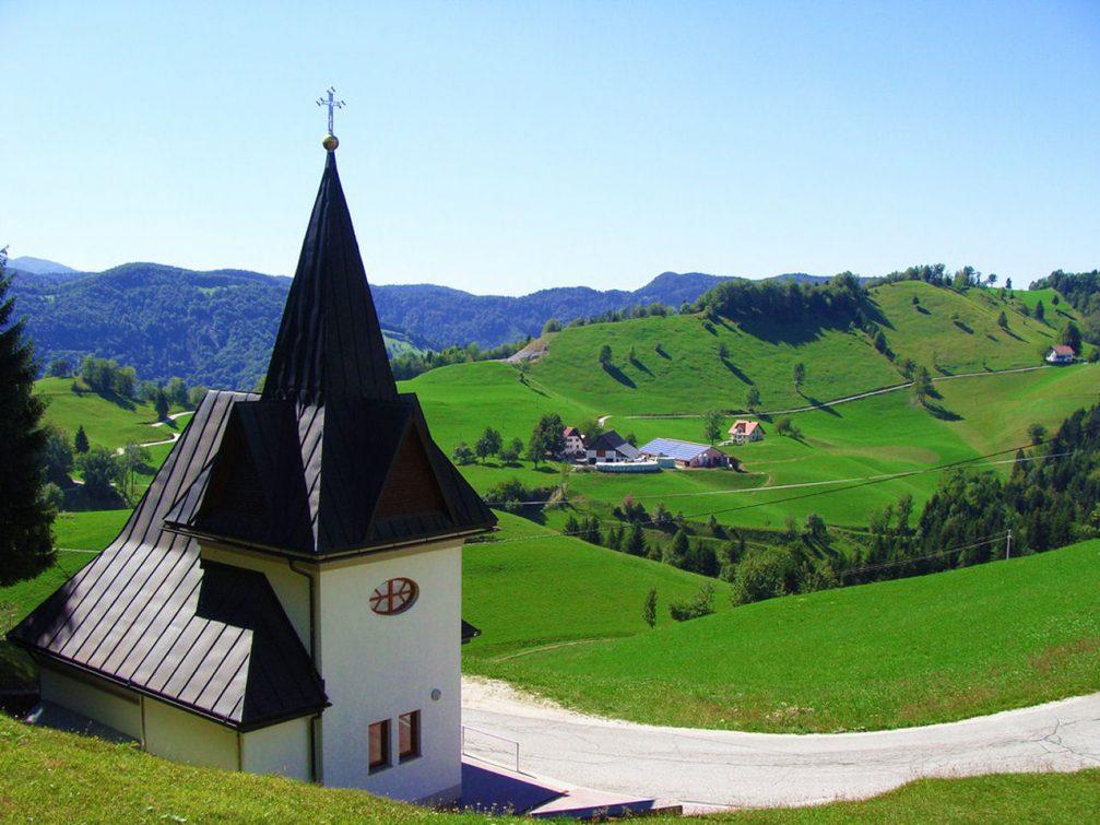 The Church of St. Florian in Idrijske Krnice in the hills northwest of Spodnja Idrija, Slovenia