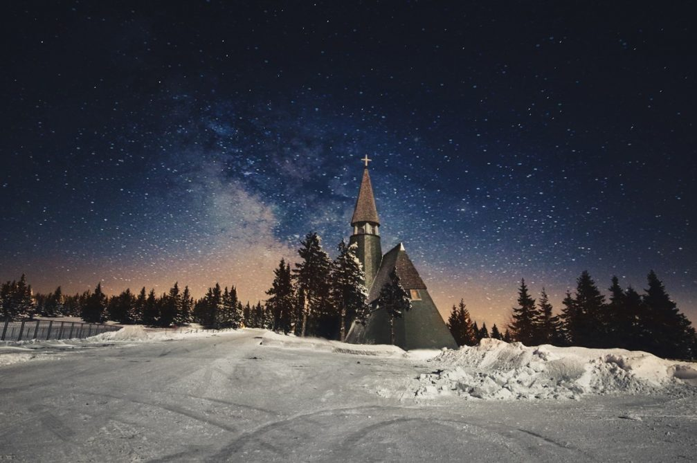 The Church of Jesus Christ on the Rogla mountain in Slovenia at night in winter