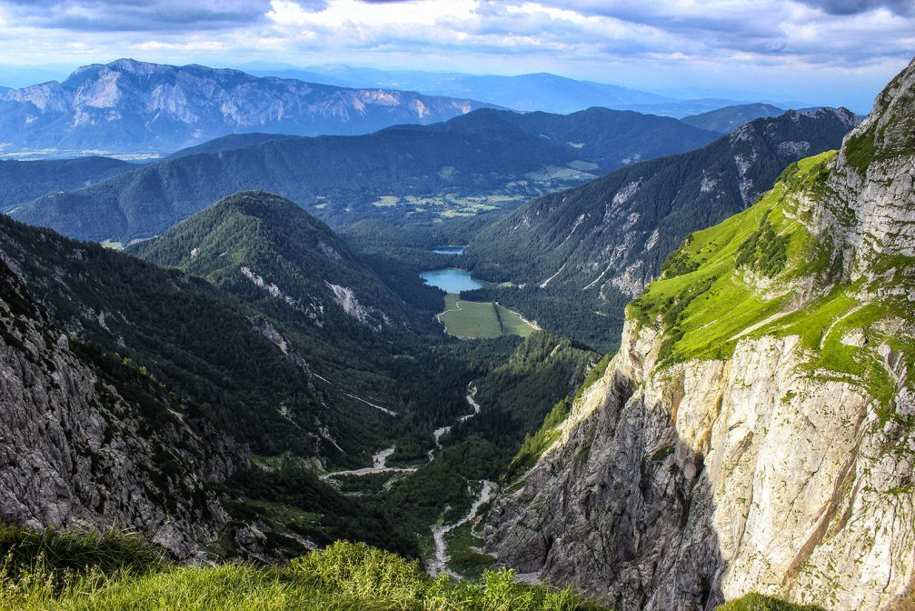 Elevated view of the Fusine Lakes in Italy from the Mangart Saddle in the Julian Alps