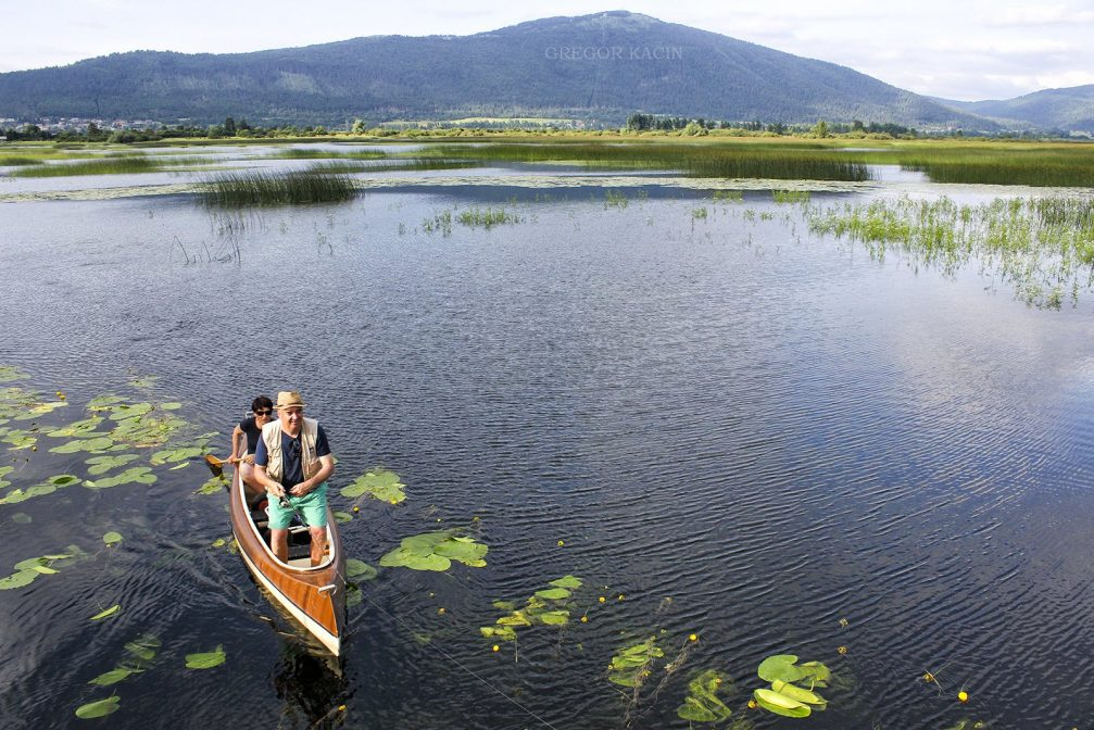 Two locals on a wooden rowing boat on Lake Cerknica in Slovenia