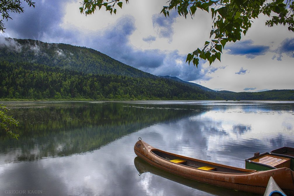 A boat on the intermittent Cerknica lake in Slovenia