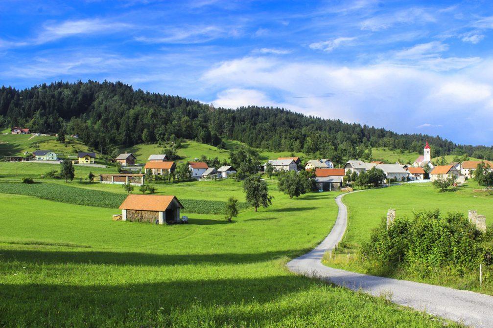 The village of Ledine on the Ledine plateau east of Spodnja Idrija in western Slovenia