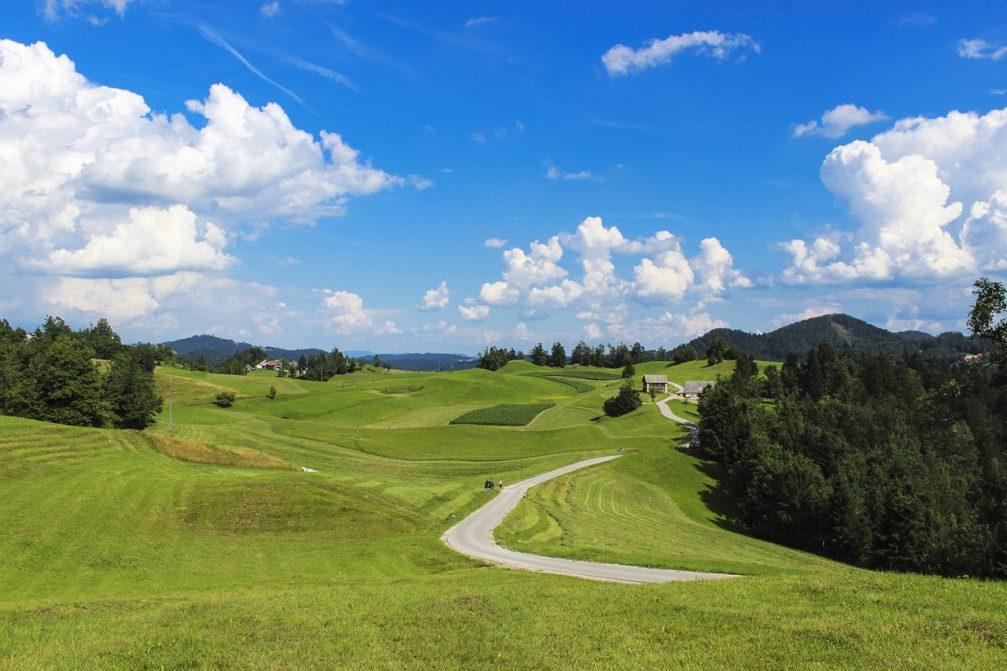 View of the Ledine plateau between the Primorska and the Gorenjska regions of Slovenia
