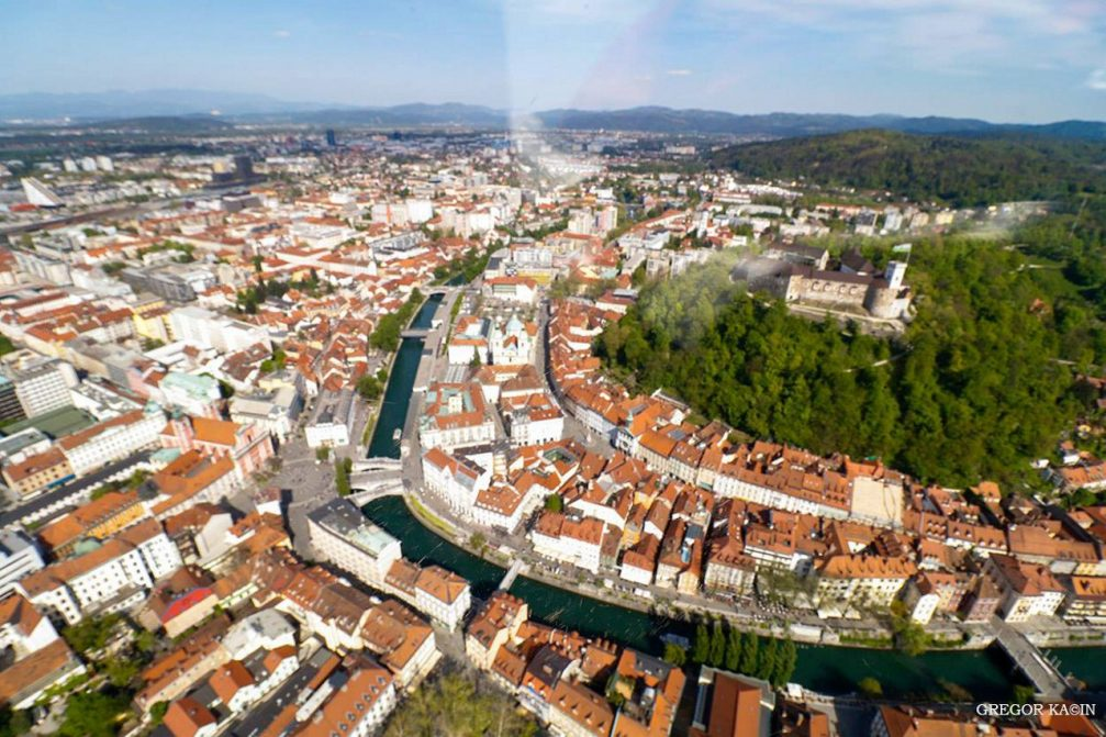 Aerial view of the historic city centre of Slovenia's capital Ljubljana from an airplane