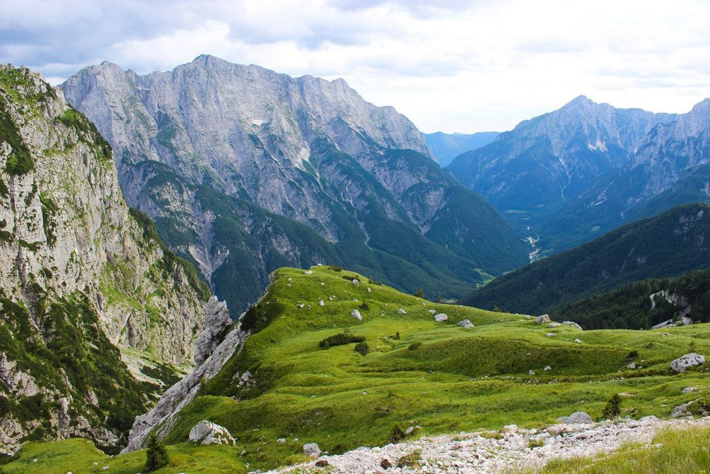Elevated view of the Loska Koritnica Valley from the Mangart Saddle in the Julian Alps, Slovenia