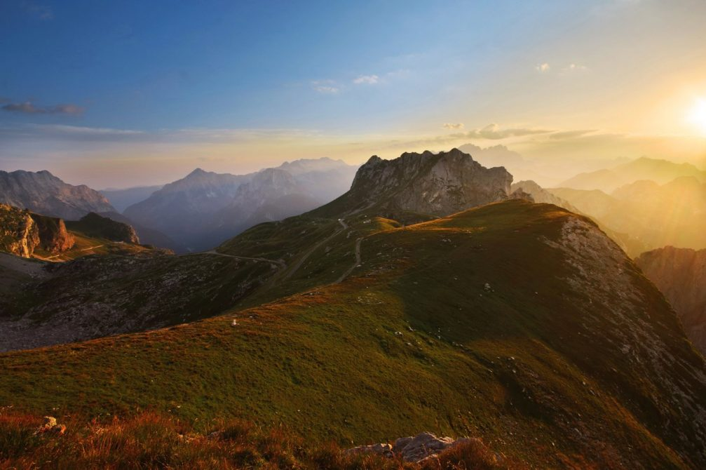 The Mangart Saddle in the Julian Alps with the highest road in Slovenia