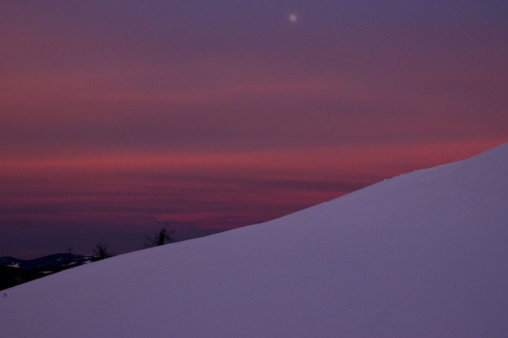 A beautiful winter sunset captured by Gregor Kacin from the Mrzli Vrh ridge in the Julian Alps