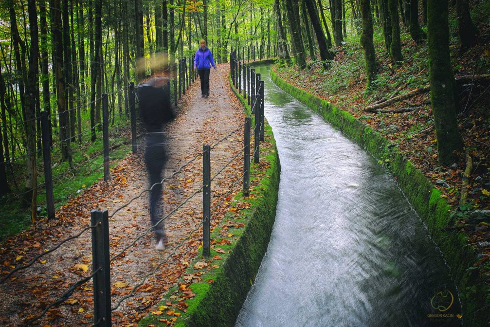 The Rake water channel along the nature learning path in Idrija in Slovenia
